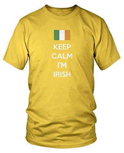 (Amdesco Men's Keep Calm, I'm Irish, Ireland Country Pride T-shirt, Yellow Medium)