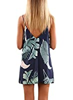 Hount Womens V Neck Halter Neck Floral Chiffon Mini Beach Dress Summer Loose Flowy Casual Sundress