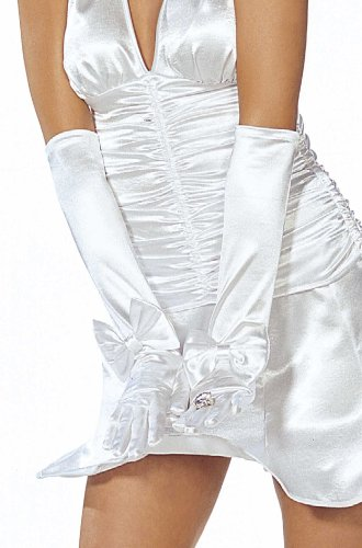 Shirley of Hollywood  Adult Long Satin Gloves With Bows, White, One Size