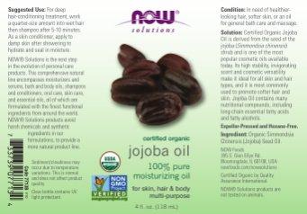 Now Foods Solutions Certified Organic Jojoba Oil 4 fl oz 118 ml