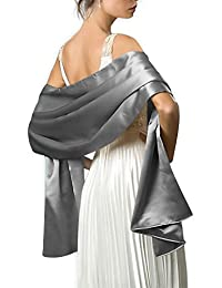 Firose Women's Satin/Chiffon Evening Scarves Bridal Cape Wedding Shawl Wraps Pashmina