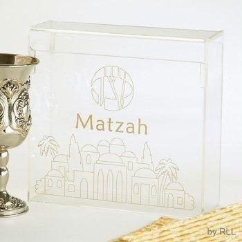 Matzah Plate Passover (Acrylic Flip top Matzah Box)