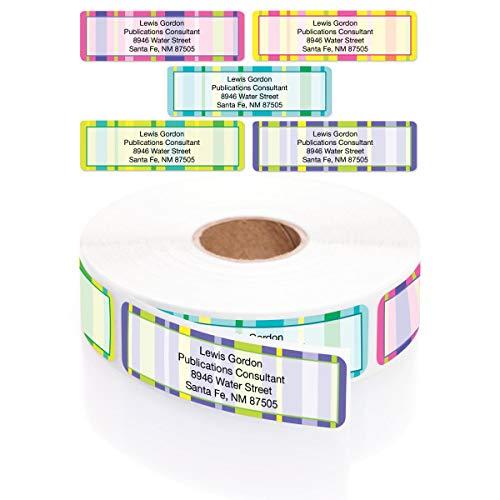 Bright Graphic Stripes Designer Assorted Rolled Address Labels with Elegant Plastic Dispenser (Stripes Big Label Address)
