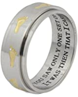 Footprints In The Sand Spinner Ring Inspirational Ring 12 Step Gift Wedding Band