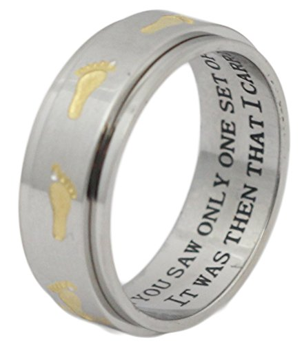 Footprints In The Sand Spinner Ring Inspirational Ring 12 Step Gift Wedding (Footprints Band Ring)