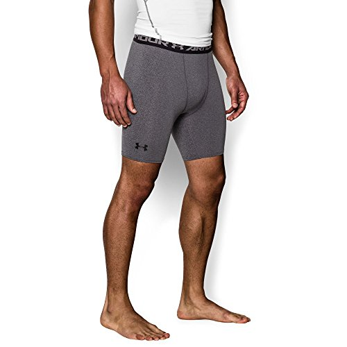 Under Armour Men's HeatGear Armour Compression Shorts – Mid, Carbon Heather (090)/Black, Small by Under Armour (Image #4)