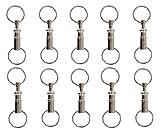 Yueton Pull-Apart Key Ring Key Chain, Dual Key Ring Snap Lock Holder, Pack of 10