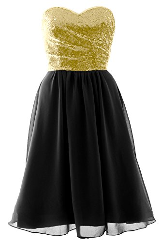 Bridesmaid Strapless Black Chiffon MACloth Sequin Short Formal Gown Elegant Dress Champagne q7w1Uxnt1