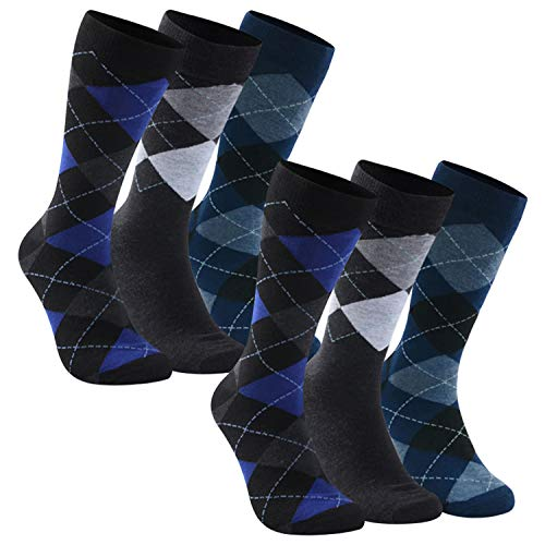 saillsen Business Dress Socks, Men's Boys Formal Wear Office Wedding Anniversary Classic Argyle Patterned Dress Socks Holiday Socks, Argyle, Large, 6 Pairs, Black/White/Blue