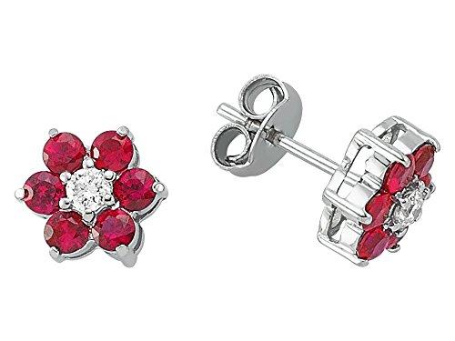 Boucles d'Oreilles Rubis et Diamants-Femme- or Blanc 217E0028