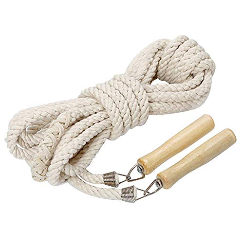 - JoJoSports Wooden Handle Skipping Rope Natural Eco Friendly Cotton Jumping Ropes Long for Women Men Kids - Great for Gym, School, Single or Group Jumping 3m KP7