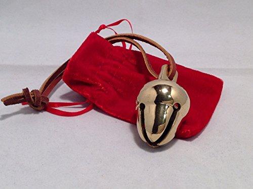 Elf Favorite Polar Double Chamber Gold Sleigh Bell From Santa's Sleigh W Velvet Sack Express From the (Polar Express Sleigh Bell)