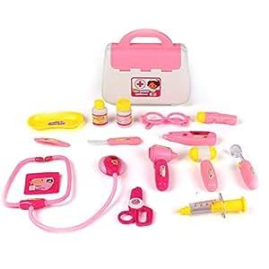 irady Médico köfferchen Doctor maletín Medical Kits Juego rollo parte Juguetes para niños (Rosa)