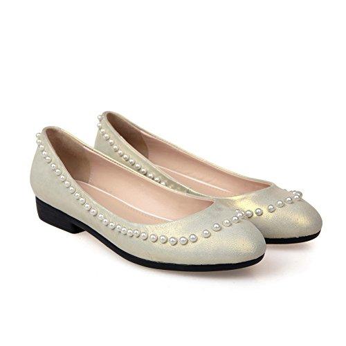 Amoonyfashion Womens Ronde Neus Met Gesloten Neus Lage Hakken Pumps-schoenen Met Non-slippende Zool Beige