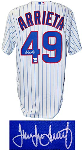 Jake Arrieta Signed Chicago Cubs White Pinstripe Majestic Jersey