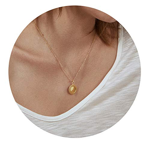 Gold Disc Filled (VACRONA Gold Disc Pendant Necklaces,18K Gold Filled Dainty Handmade Circle Charm Necklaces Jewelry for Women)