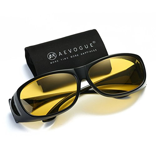 AEVOGUE Polarized Sunglasses Mens Over-The-Glass Prescription Safety Glasses AE0509 Black&yellow
