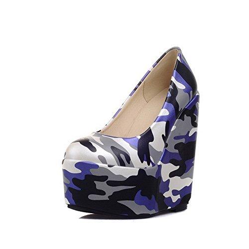 629ee72714aaf1 AllhqFashion Damen Gemischte Farbe Blend-Materialien Hoher Absatz Rund Zehe  Pumps Schuhe Blau