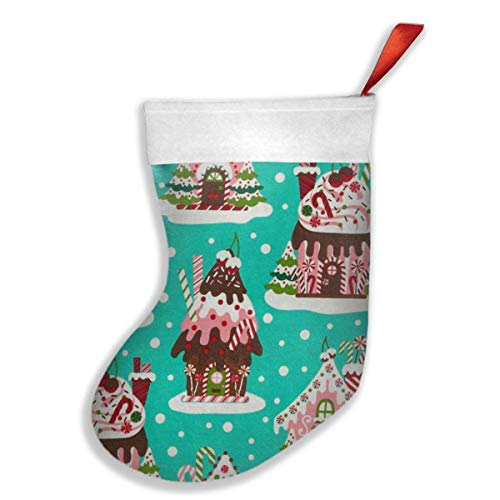 Holiday Gingerbread Houses Christmas Stockings for Decorations Gift/Treat Bags (Gingerbread House Stocking)