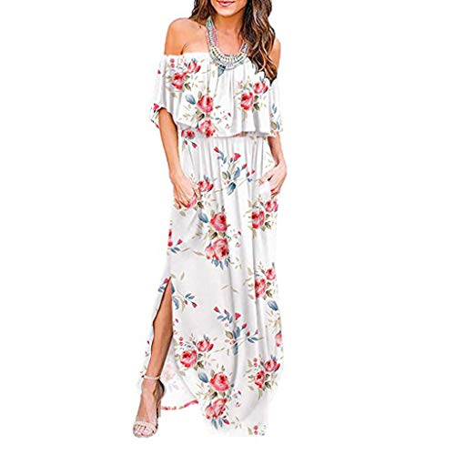 (aihihe Womens Off The Shoulder Ruffle Party Dresses Side Split Floral Print Beach Maxi Dress (White,S))