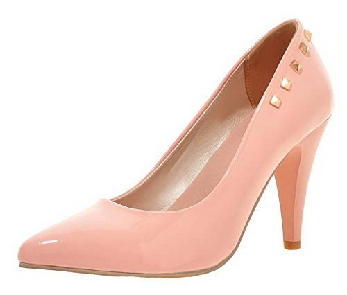 Amoonyfashion Femmes Bout Pointu Talons Pu Solide Pull-on Pompes-chaussures Rose