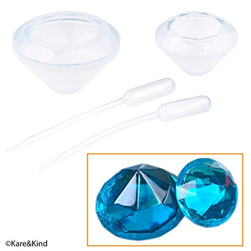 Polymer Clay / Resin Molds - DIY 'Diamond' Kit - Set of 2 Silicone Shapes - Create Your Own Crystal Clear or Opaque Diamond Shaped Objects - Easy to Remove After Molding - Soft and Durable