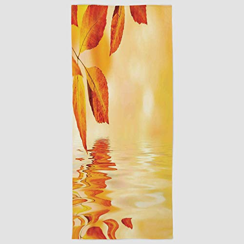 iPrint Cotton Microfiber Hand Towel [ Burnt Orange,Autumn Maple Leaves Shadow on The Water with Mystic Magical Sun View Sadness Art Decorative,Golden Orange ] for Hotel SPA Beach Pool Bath -
