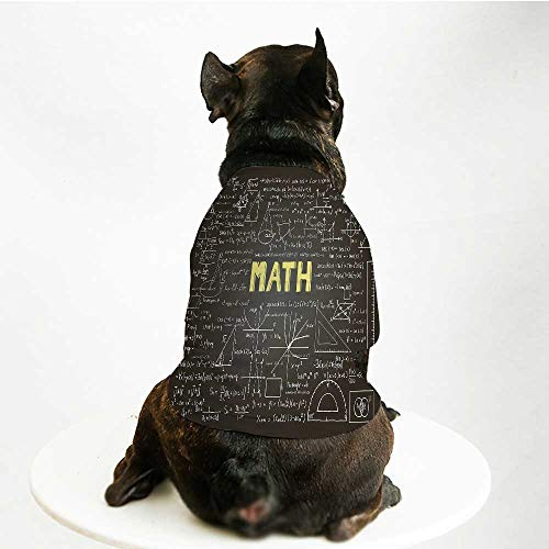 YOLIYANA Mathematics Classroom Decor Stylish Pet Suit,Dark Blackboard Word Math Equations Geometry Axis Decorative for Small Medium Big Dogs,S ()