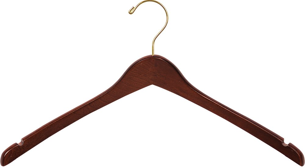 The Great American Hanger Company Curved Wood Top Hanger, Box of 100 17 Inch Wooden Hangers w/Walnut Finish & Brass Swivel Hook & Notches for Shirt Jacket or Coat
