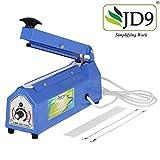JD9 8 inches Heavy Duty Metal IB Heat Sealer, Heat Sealer for Plastic Bag, Heat Sealer Machine, Heat Sealer for Plastic Bag 8' inch, Impulse Sealer, Impulse Sealer Machine, Packing Machine (Blue).