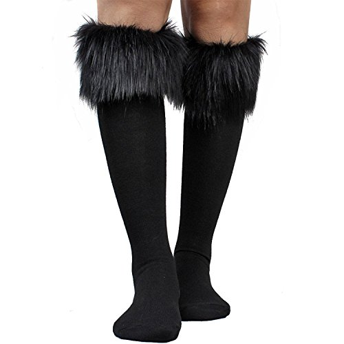 Women's Fur Socks Furry Fuzzy Leg Warmers Soft Boot Cuffs Cover High Socks (Black) ()