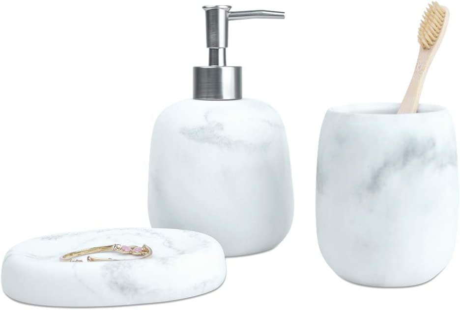 LunaLife Bathroom Accessories Set 3 Piece Bath Ensemble Includes Soap Dispenser, Bathroom Tumbler,Soap Dish, Ideas Home Gift for Ware Home Decor Bath