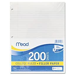 Mead 15326 Filler Paper, College Ruled, 2 Packs Of 200 Sheets = 400 Sheets