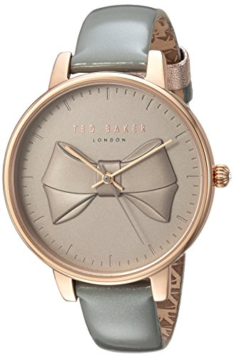 Ted Baker Women's Brook Stainless Steel Quartz Watch with Leather Strap, Grey, 14 (Model: TEC0185004