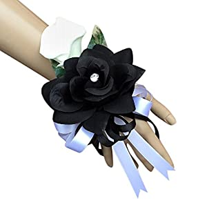 Angel Isabella Wrist Corsage – Calla Lily with Black Rose