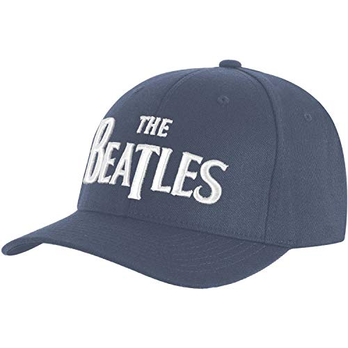 The Beatles Men's Baseball Cap: White Drop T Logo (denim Blue)
