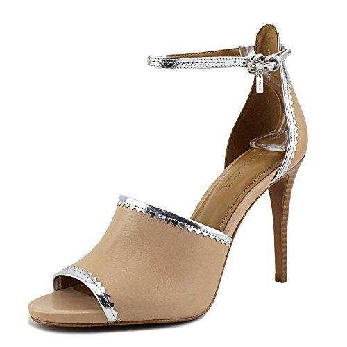 Coach Womens Jordan Open Toe Ankle Strap Classic Pumps Beechwood/Silver Matte Calf/Mirror Metallic 23ZDln22wa