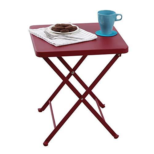 Cheap  PHI VILLA Outdoor Folding Bistro Table- Patio, Porch Metal Side Table, Apple..