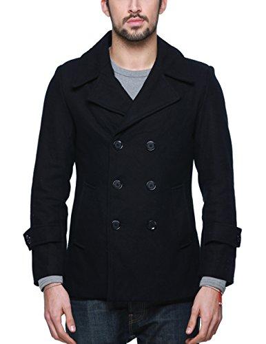 Classic Wool Coat - Match Mens Wool Blend Classic Pea Coat Winter Coats (010 Dark Sapphire Blue, Small)