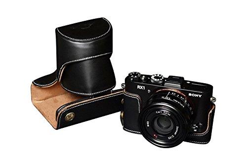 TP SONY RX1R用本革レンズカバー付カメラケース(電池 SDカード交換可 レンズフード取付可) ブラック B01K4P0I66 レンズカバー付ケース&バッテリーケース