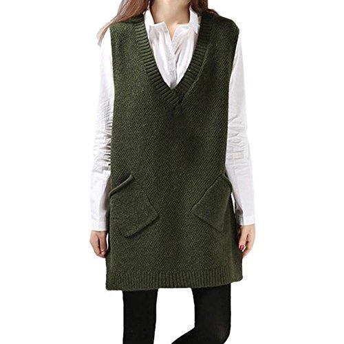 (ビモラ)VIMORA 秋 冬 レディース 女の子 学生 Vネック ノースリーブ 編み ニット ロング セーター ベスト ポケット付き 4色