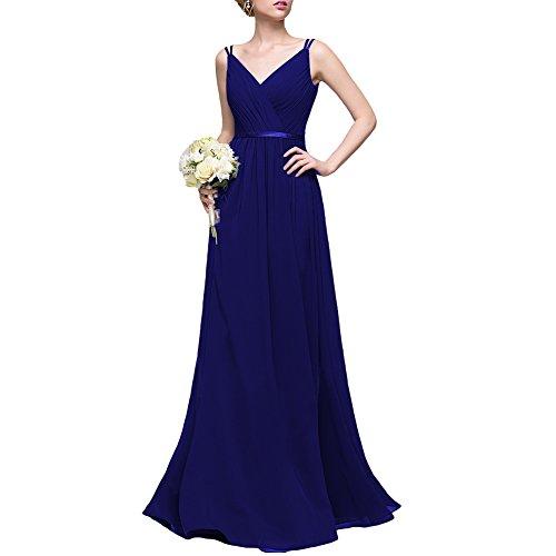 Dreagel Longues Robes De Demoiselle D'honneur En Mousseline De Soie Col V Robe De Soirée Formelle Pour Les Femmes Froncé Bleu Royal