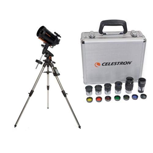 Celestron Advanced VX 8'' Schmidt-Cassegrain Telescope - with Deluxe Accessory Kit (5 Plossl Eyepieces, 1.25'' Barlow Lens, 1.25'' Filter Set, Accessory Carry Case by Celestron