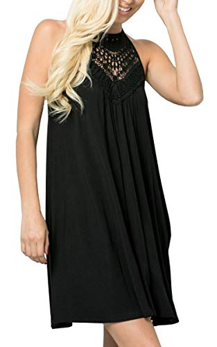 ECOWISH Womens Halter Neck Lace Patchwork Backless Loose Tunic Tank Dress Sleeveless Casual Top Dresses Black X-Large