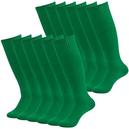 (Fasoar Men's Women's Knee High Volleyball Football Soccer Sports Tube Socks Soccer Hosiery Pack of 12 Green  12 Pack green  One Size)