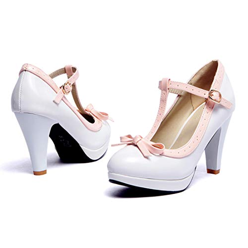Susanny Women's Chic Sweet Round Toe T-Strap Bows Adorable Buckle High Cone Heel Mary Janes Dress White Pumps 12 B (M) US