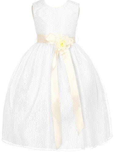Ivory Custom 2 Ribbon - Little Girls Champagne Dress Lace Custom Ribbon Flowers Girls Dresses Ivory Ivory 2