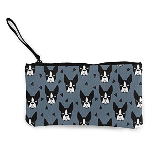Boston Terrier Dog Womens Canvas Coin Purse Mini Change Wallet Pouch-Card Holder Phone Wallet Storage Bag,Pencil Pen Case