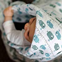 Mantita de arrullo de emma & noah, suave y calmante para bebés que lloran, 120 x 120 cm, 100% algodón, motivo: ballena azul, ideal como mantita de arrullo para bebés, muselina, manta