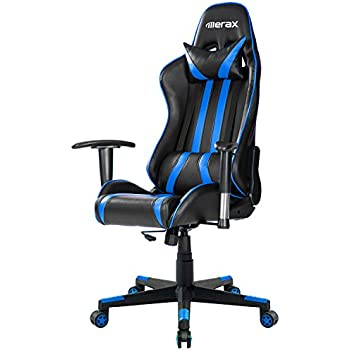 Merax Racing Gaming Style High Back PU Leather Metal Frame Swivel Office Chair (Blue)